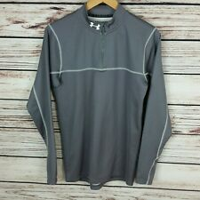 Under Armour Men's Cold Gear Fitted 1/4 Zip Gray/White Pullover Small Euc