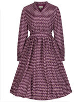 Lindy Bop Bee Print Burgundy Vintage Fit and Flare Shirt Dress BNWT Size 10