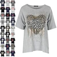 Womens Ladies Love Heart Leopard Glitter Batwing Oversized Baggy Tee T Shirt Top