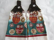 2-PIECE KITCHEN HANGING TOWEL,TOWELS+OWLS+HANDMADE CROCHETED TOPS, GREAT GIFTS X