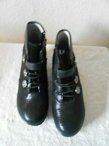 Alegria Black Emboss Leather Detail Ankle Boots with Sliver Buttons SZ 39