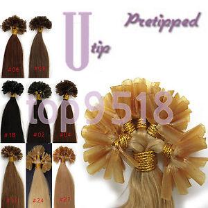 "16-22"" Pre Bonded Fusion U/Nail Keratin Tip Remy Human Hair Extensions Straight"