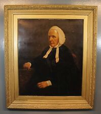 "Large Antique Old Master Female Portrait Oil Painting on Canvas Unsigned 39""x34"""