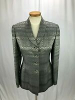 Albert Nipon Women's Gray Metallic Blazer Silver Tone Buttons