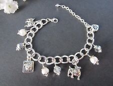Bull Boxer Dog Charm Bracelet with Freshwater Pearls & Swarvosky Crystals