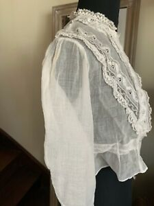 ANTIQUE French Edwardian Girl Lace blouse - Valenciennes Lace, linon Fabric