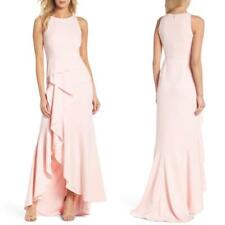 NEW Adrianna Papell PALE SHELL PINK Cascade RUFFLE Hi-Lo SKIRT Crepe GOWN US 2