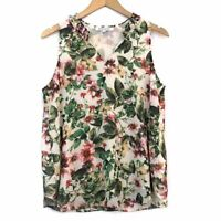 ROSE OLIVE ANTHROPOLOGIE Green Cream Tropical Hawaiian Floral Tank Blouse Small