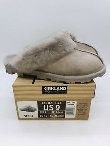 Kirkland Signature Ladies' Shearling Slippers - Stone US 9 / EUR 40