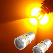 2pcs Amber Yellow Error Free 18-SMD BAU15S 7507 LED Bulb For Turn Signal Lights