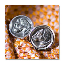 Sterling Silver English Foxhunt Puppy Dog Cameo Designer Cufflinks