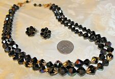 VTG AB BLACK GLASS BEAD 2 STRAND NECKLACE+GLASS CLUSTER CLIPS GORGEOUS!