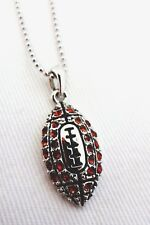 Football Necklace Silver Orange Crystals 16 Inch Bead Chain Grid Iron Fan