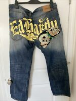 Vintage Christian Audigier ED HARDY BULLDOG Denim Jeans 40x32 Factory Distress