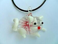 Lovely Inlaid Lampwork Glass Cat  Pendant  Necklace  White