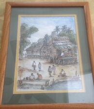 Chinese Village People's Signed Jo Vincent '98 Watercolor Painting  Framed