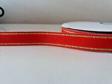 "2 yards 16mm (5/8"")  wide XMAS RED/GOLD WOVEN STRIPE DOUBLE SIDED RIBBON"