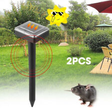 2-Solar Powered Ultrasonic Sonic Mouse Mole Pest Rodent Repeller Repellent Yard
