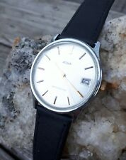 mens vintage acqua 60's hand wind watch with date chrome case clean dial