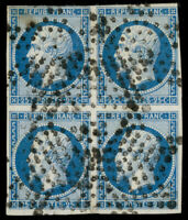 France 1852 25c BLUE ON BLUISH BLOCK OF FOUR USED #11 clear to large margins