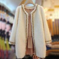 Parka Korea Womens Round Collar Pearl Wool Blend Slim Fit Long Coat Jacket News