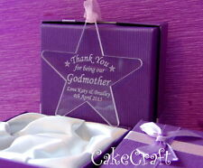Engraved Personalised Acrylic godmother farher Star keepsake gift present in box