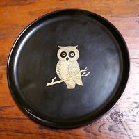 Vintage Genuine COUROC of Monterey Brass OWL Black Round Serving Tray 10""