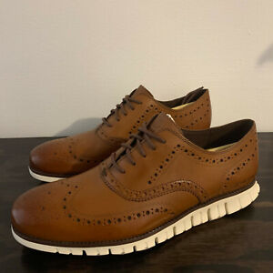 NEW Cole Haan Zerogrand Leather Wingtip Oxford Shoes 11 M British Tan/Ivory $195