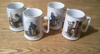 Vintage 1985 Norman Rockwell Museum Coffee Mugs Cups Set of 4 White W/ Gold Trim