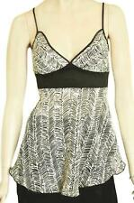 JULIA SILK SZ 12 WOMENS Black & Beige Print Flared Frill Fishtail Hem Strap Top