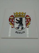 New listing Vintage Steuler Germany Ceramic Tile Berlin Bear Crown Coat of Arms White 6 x 6