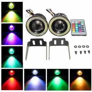 "2pcs 3.5"" Projector RGB LED Fog Light White COB Halo Angel Eye Rings Driving"