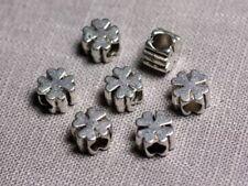 10pc - Perles Métal argenté Trèfle 4 feuilles 9.5mm gros trous 4.5mm - 455855009