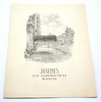 Vintage JOSEPH'S RESTAURANT Dartmouth Street Boston Restaurant Menu 1953