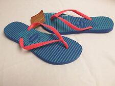 Havaianas 6 M Slim Graphic Light Blue Flip Flops Sandals New Womens Shoes NWOB