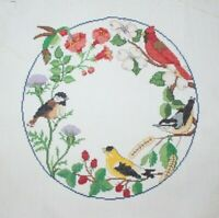 """""""Circle of Songbirds"""" by Janlynn Cross Stitch Completed Finished Floral Wreath"""