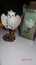 Screech Owl figurine. With box.  Resin By Trippie's Inc.