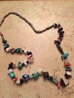 Vintage Multi-colored Stone Glass Turquoise Heishi Beaded Southwestern Necklace