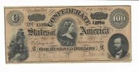 $100 Bank Note CSA 1864 T-65 Confederate Currency Lucy Pickens #13258 Series 11