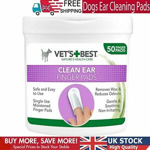 Dogs Ear Cleaning Pads Wipes Remove Wax Finger 50 Pack Hygiene Reduces Odours UK