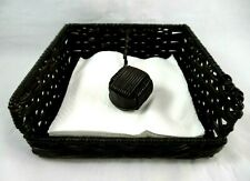 Weighted Brown Woven Wicker Napkin Holder with Braided Woven Ball Weight