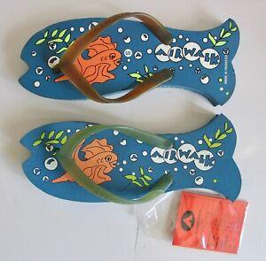 Vintage 1999 Airwalk Flip Flops Sandals Fish Salesman Sample Mn 7 Wm 8.5