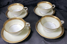4 NORITAKE GOLDKIN 5675 TEA/ COFFEE CUPS AND SAUCERS