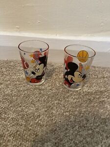 2 VINTAGE MICKEY MOUSE Sports Glasses Set Bundle Very Good Condition