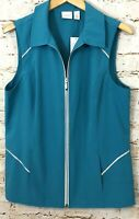 Weekends by Chicos Womens Vest 2 = large new Zip up blue Lightweight Pockets D5