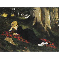 Benczur Woman Reading Forest Trees Blanket Painting Extra Large Art Poster