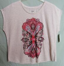 Sonoma Women's 2X Off Shoulder Tee Top Paisley Heather Gray Beaded New Tags