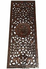 Tropical Wood Carved Wall Decor Panel.Floral Wood Wall Art.Dark Brown 35.5x13.5""