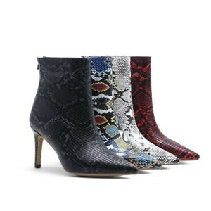 Women Sexy Ankle Boots Stiletto High Heel Snake Print Pointed Toe Side Zip Shoes