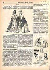 Mode Automne Toilette Chapeau de Paille Robe Mousseline Taffetas GRAVURE 1847